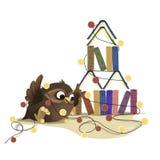 Hibou sage avec des livres et une guirlande illustration stock