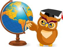 Hibou sage de dessin animé avec le globe du monde Photo stock
