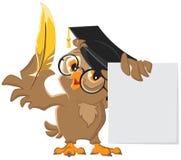 Hibou sage tenant un stylo d'or et une feuille de papier illustration de vecteur