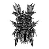 Hibou sensible noir illustration stock