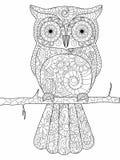Hibou sur un vecteur de livre de coloriage de branche pour des adultes illustration libre de droits