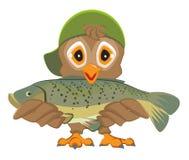 Hibou tenant des poissons Pêcheur avec le loquet illustration stock