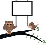 Hibou tenant la bannière Images libres de droits