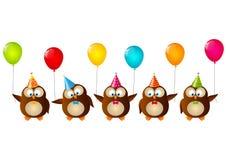 Hiboux d'anniversaire Photo stock