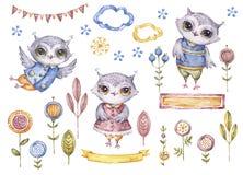 Hiboux d'aquarelle, éléments floraux, ensemble de couverture de carte illustration stock