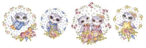 Hiboux d'aquarelle et fleurs, ensemble dans le style puéril illustration libre de droits