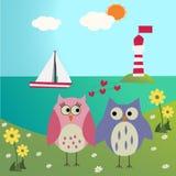 Hiboux dans l'amour sur la mer Image libre de droits