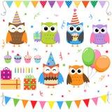 Hiboux de fête d'anniversaire Photo stock