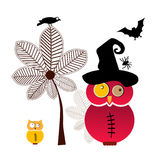 Hiboux doux de Halloween Images stock