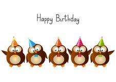 Hiboux mignons d'anniversaire Image stock