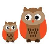 Hiboux mignons de bande dessinée de vecteur Clipart de hiboux Bébé Owl Vector Illustration Photographie stock