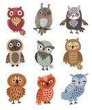 Hiboux mignons réglés des oiseaux de vecteur Photographie stock libre de droits