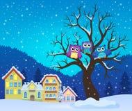Hiboux stylisés sur l'image 3 de thème d'arbre Photographie stock libre de droits
