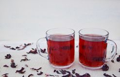 Hibuscus tea. Fresh hibiscus tea in glass mugs Stock Photo