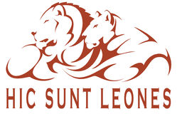 Hic sunt leones. Graphic artwork: a couple of lions Royalty Free Stock Image