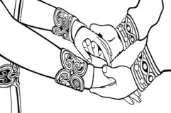 Wedding hands silhouette illustration.Coloring book. royalty free illustration