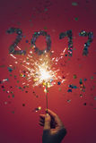 2017 hicieron de confeti y de bengala Fotos de archivo