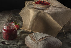 Hick bread with strawberry jam. Stock Photography