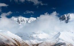 Hick fog on the mountain pass Goulet. Georgia, Svaneti. Europe. Caucasus mountains Stock Images