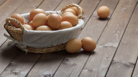 Hicken eggs in a basket Royalty Free Stock Photo