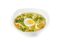 Сhicken noodle soup with egg Royalty Free Stock Photo