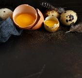 Сhicken and quail eggs. On a dark background Stock Photo
