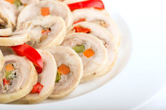 Сhicken roulade. With pepper and carrot Royalty Free Stock Photos