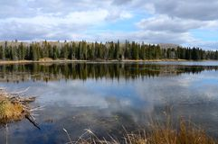Hickey Lake and shoreline in the Fall at Duck Mountain Provincial Park, Manitoba. Hickey Lake in the Fall at Duck Mountain Provincial Park, Manitoba Stock Photos