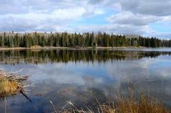 Hickey sjö och shoreline i nedgången på Duck Mountain Provincial Park, Manitoba Arkivfoton