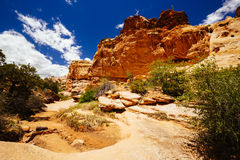 The Hickman Bridge Trail, Capital Reef National Park, Utah, USA. The trail to Hickman Bridge is Capitol Reef National Parks most popular hike and features Royalty Free Stock Image