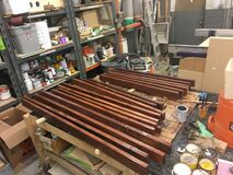 Hickory and 2x4 furniture WIP. Dyed the hickory Dec 17; stained and polyurethaned the 2x4's, and clear-coated the hickory wit Stock Photo