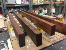 Hickory and 2x4 furniture WIP. Dyed the hickory Dec 17; stained and polyurethaned the 2x4's, and clear-coated the hickory wit Royalty Free Stock Photography