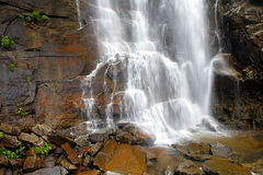 Hickory Nut Falls. The bottom of the Hickory Nut Falls in the Chimney Rock Park, North Carolina where scenes from the movie The Last of the Mohicans was filmed Royalty Free Stock Images