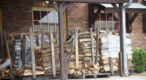 Hickory Wood Outside a BBQ Resturant Stock Photography