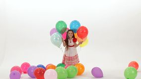 Hid Behind Balloons stock footage