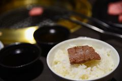 A5 Hida beef on the rice bowl. A piece of A5 Hida beef on top a rice bowl Stock Images