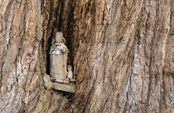 Hida Kokubunji Temple, Takayama, Japan. Takayama, Japan - May 2, 2016: Small Jizo statues in a tree at Hida Kokubunji Temple, Takayama, Japan. The Hida Kokubunji Royalty Free Stock Images