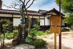 Hida Kokubunji Temple, Takayama, Japan. Takayama, Japan - May 2, 2016: Statue at Hida Kokubunji Temple, Takayama, Japan. The Hida Kokubunji Temple was Stock Photo