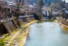 Hida River Takayama. Takayama is a city located in Gifu, Japan. The city is popularly known as Hida-Takayama in reference to the old Hida Province to Stock Photo