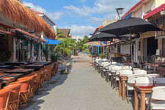 Hidalgo Street. In Isla Mujeres, Mexico. The main street with shops and restaurants Stock Image