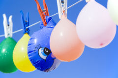 Hidden. Toy fish hidden between balloons hanging from a clothesline Stock Photo