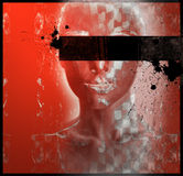 Hidden. Red grunge backgrond with women face Royalty Free Stock Image