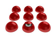 Hidden. 9 closed red reflective shells, one slightly open royalty free illustration