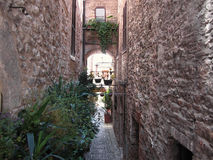 Hidden alley in old village of Spello, Italy Royalty Free Stock Photography