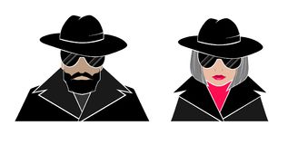 Hidden avatar anonymous. Man and woman in black, glasses, hats, Cape with raised collar Stock Images