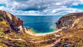 Hidden beach at Cap de la Chevre, Presqu'ile de Crozon, Parc nat. Urel regional d'Armorique. Finistere department, Camaret-sur-Mer. Brittany &#x28 royalty free stock photo