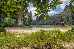 Hidden beach of El Nido, Palawan. One of the hidden beaches of El Nido, Palawan, Philippines. This part of the Philippines is considered a paradise by visitors royalty free stock image
