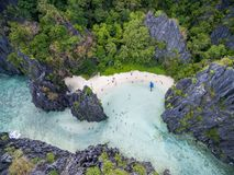 Hidden Beach in Matinloc Island in El Nido, Palawan, Philippines. Tour C route and Sightseeing Place. Hidden Beach in Matinloc Island in El Nido, Palawan stock images