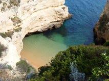 Hidden beach. Hidden paradisiac calm beach, blue sky on a sunny day Stock Photography