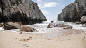 Hidden Beach Rocky View Slowmotion 4k stock footage